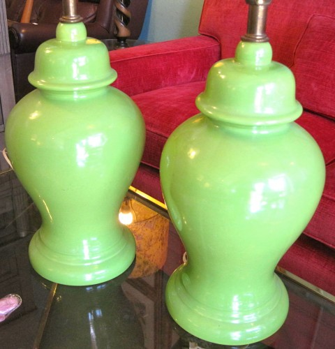 Set of Lime Green 70s Pottery Lamps