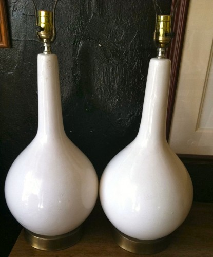 White Midcentury Pottery Lamps