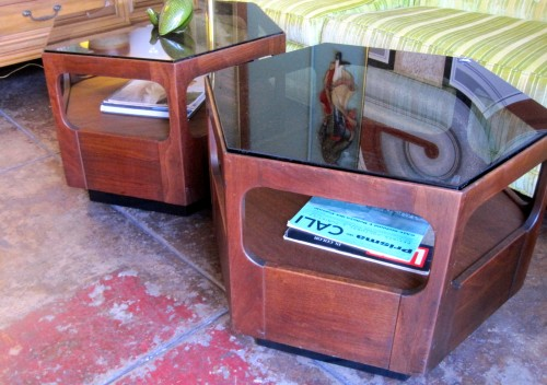 Midcentury End Tables with Smoked Glass Top