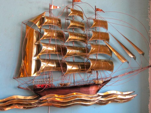 Brass and Copper Sailboat Art