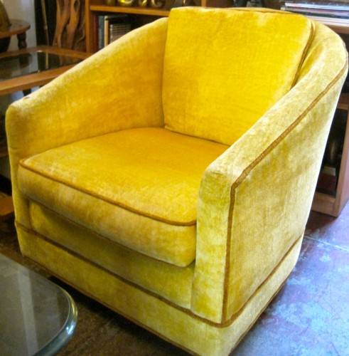 Gold Digger | Yellow Velour Club Chair With Gold Trim