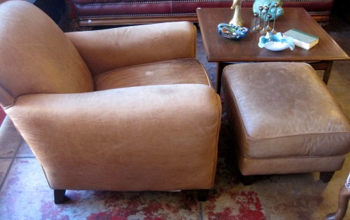 Italian Club Chair With Ottoman
