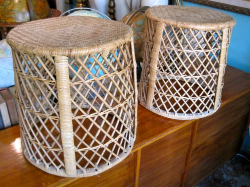 Set of Two Rattan Stools