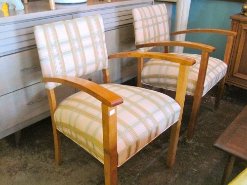 Set of Two Plaid Australian Chairs