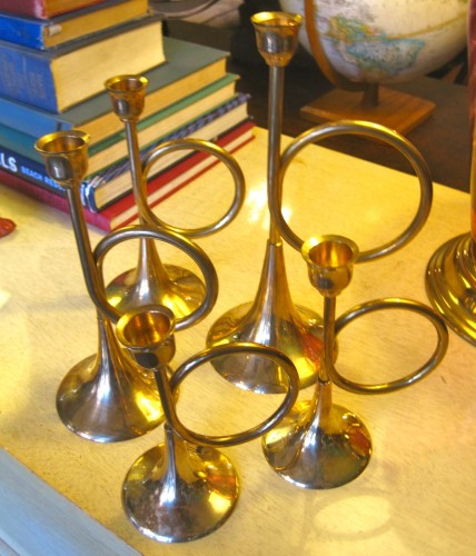Set of Six Trumpet Candle Holders