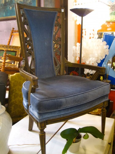 Feast Like A King Pair Of 1960s Blue Velvet Arm Chairs
