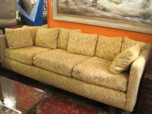 Sold Honey Mustard 1970s Tuxedo Sofa With Zig Zag