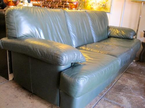 1980s Italian Leather Sofa