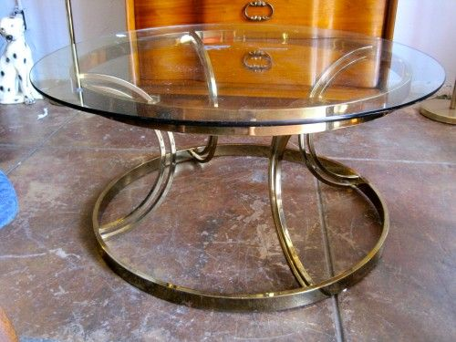 round brass glass coffee table