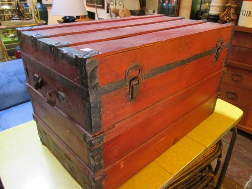 Weather Or Not Handcrafted Red Trunk Coffee Table Casa Victoria Vintage Furniture Los Angeles