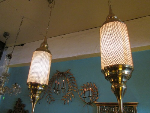 Two Brass Cone Pendant Chandeliers