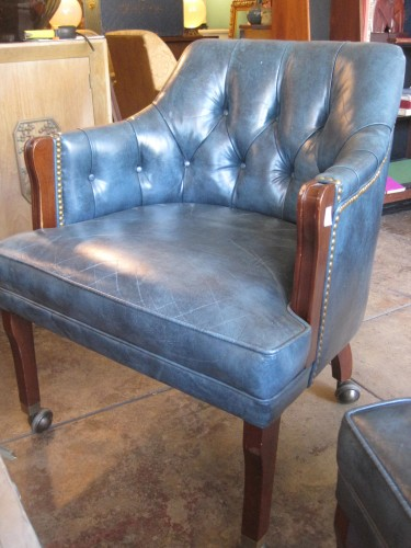 blue leather chair. SOLD   Blue Moon Vintage Distressed Leather Chair On Casters (2) 1
