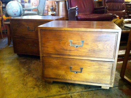 SOLD | Relevant Elegance | Pair Of Henredon Campaign Style Nightstands