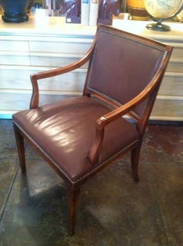 Sold Timeless Design Pair Of Leather Arm Chairs By Hickory Chair