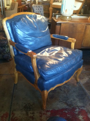 Sold Royal Blue Pair Of Vintage Leather Club Chairs