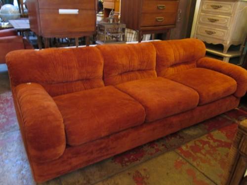 Sold Relax Soft 1970s Orange Velour Club Sofa Casa
