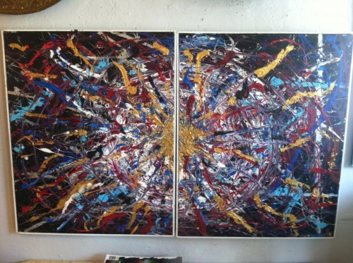 Fabulous Two Piece Vintage Abstract