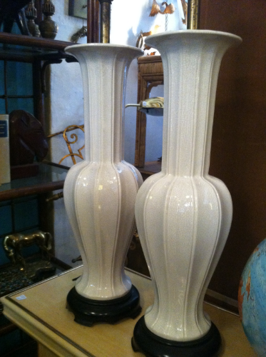 set of 1960s tall pottery lamps