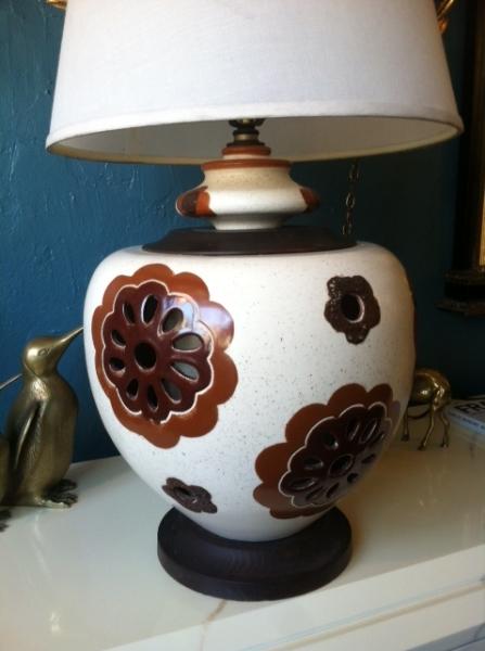 midcentury pottery lamp