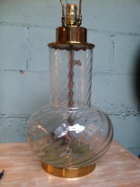 brass and glass lamp