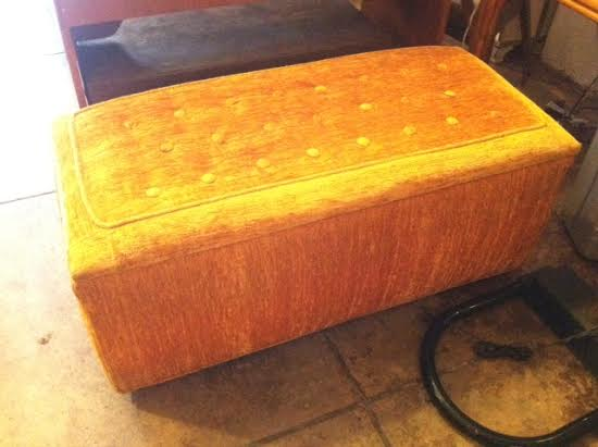 1970s Orange Velour Bench