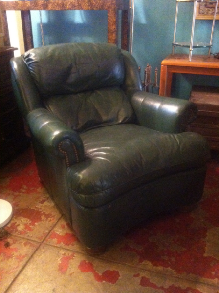 green cowhide club chair