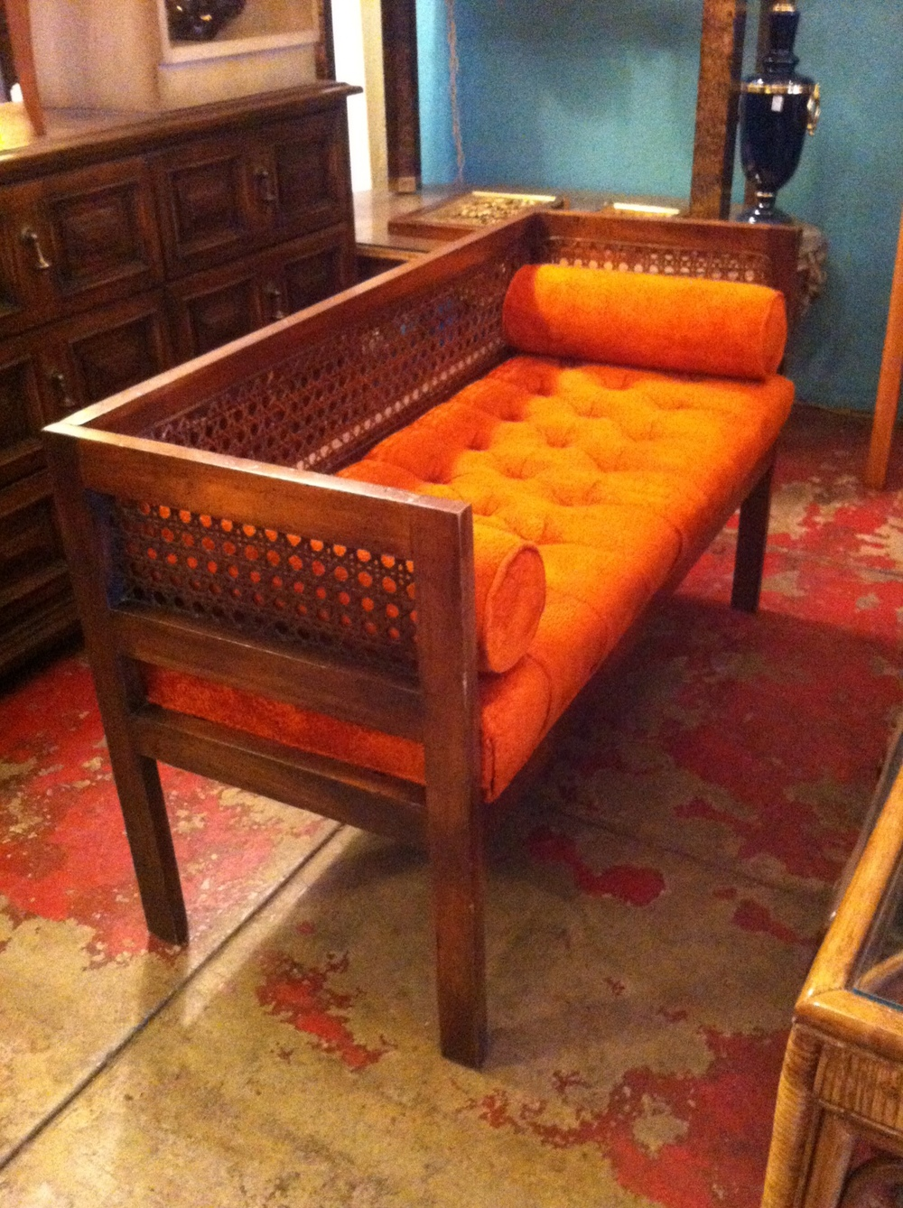 Sold Pinterest Worthy 1970s Orange Bench With Cane