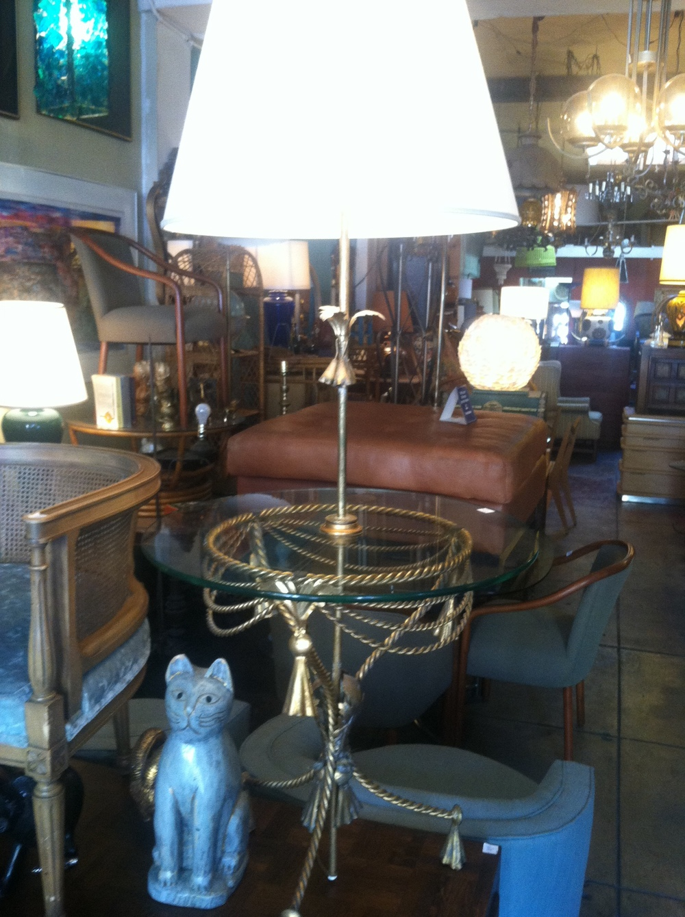 1950s Gilded Metal Lamp Table