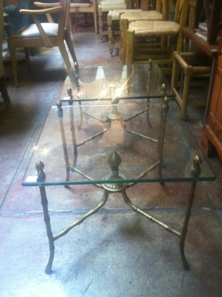 Pair of Faux Bamboo Metal End Tables