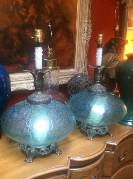 Pair of Regency Glass Lamps