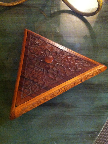Vintage Carved Triangular Box