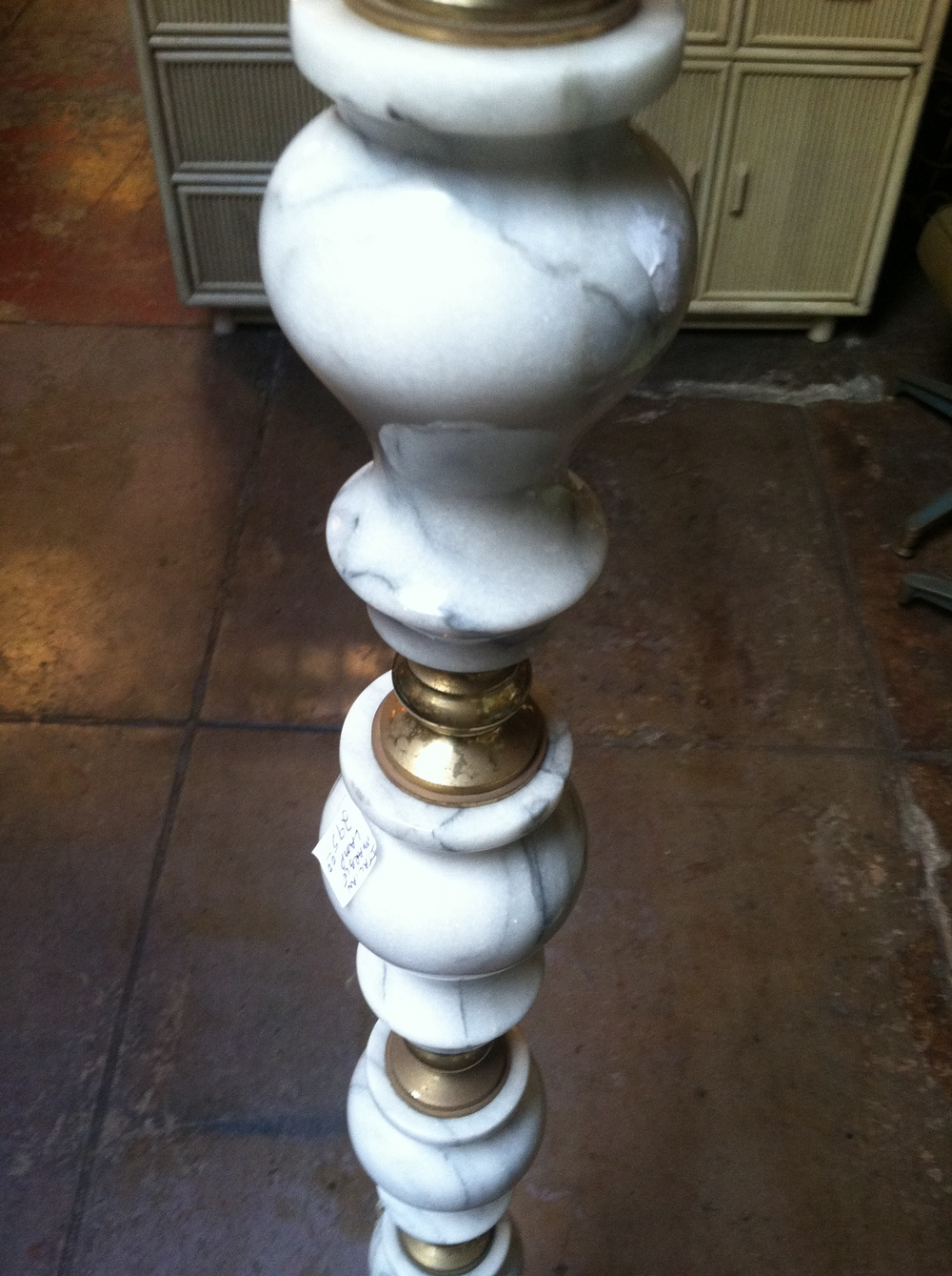 vintage marble and brass floor lamp
