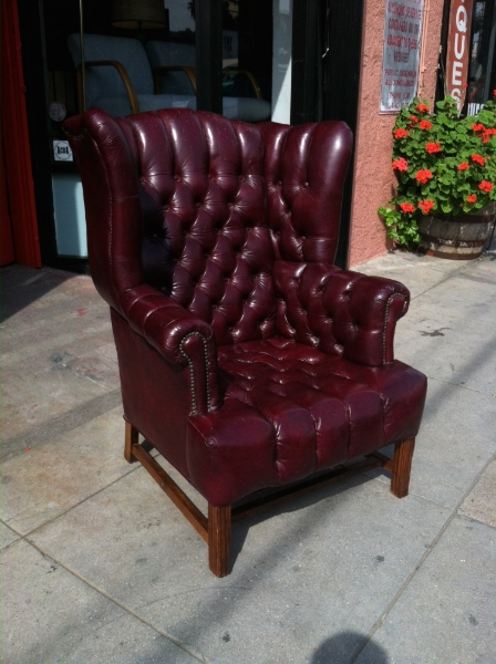 1950s Fully Buttoned Leather Wing Chair