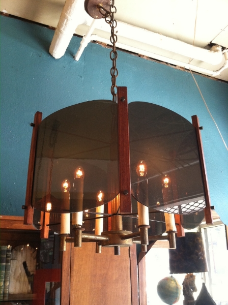 1960s Smoked Acrylic and Teak Chandelier