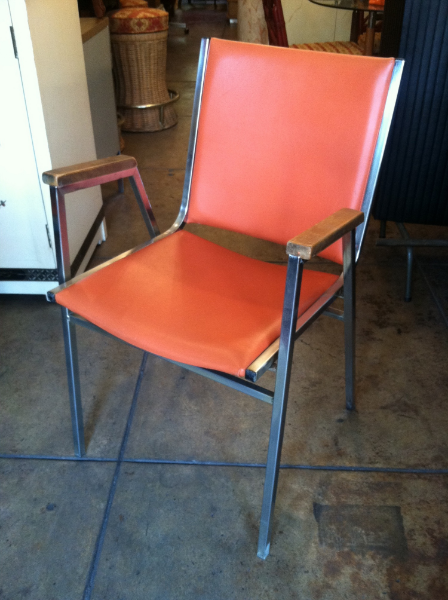 Set of (8) Orange Arm Chairs