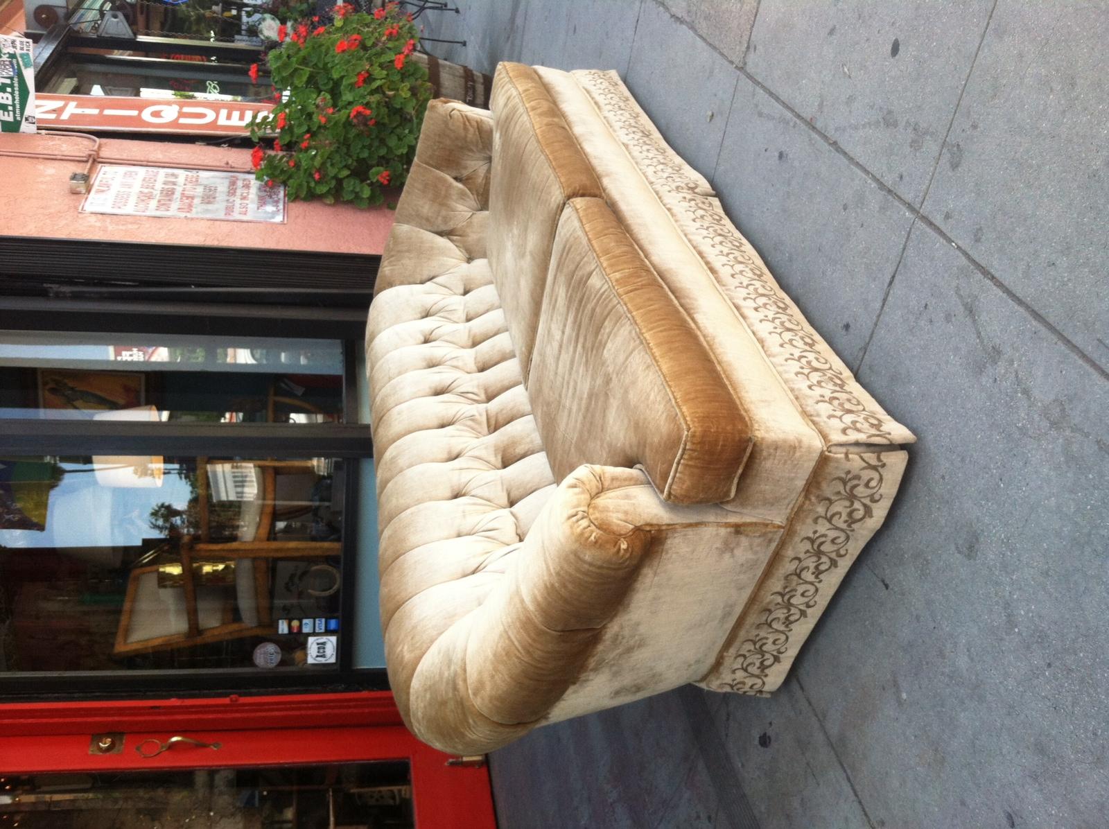 SOLD | Porridge Preference | 1970s Salmon Velvet Sofa U2014 Casa Victoria  Vintage Furniture Los Angeles