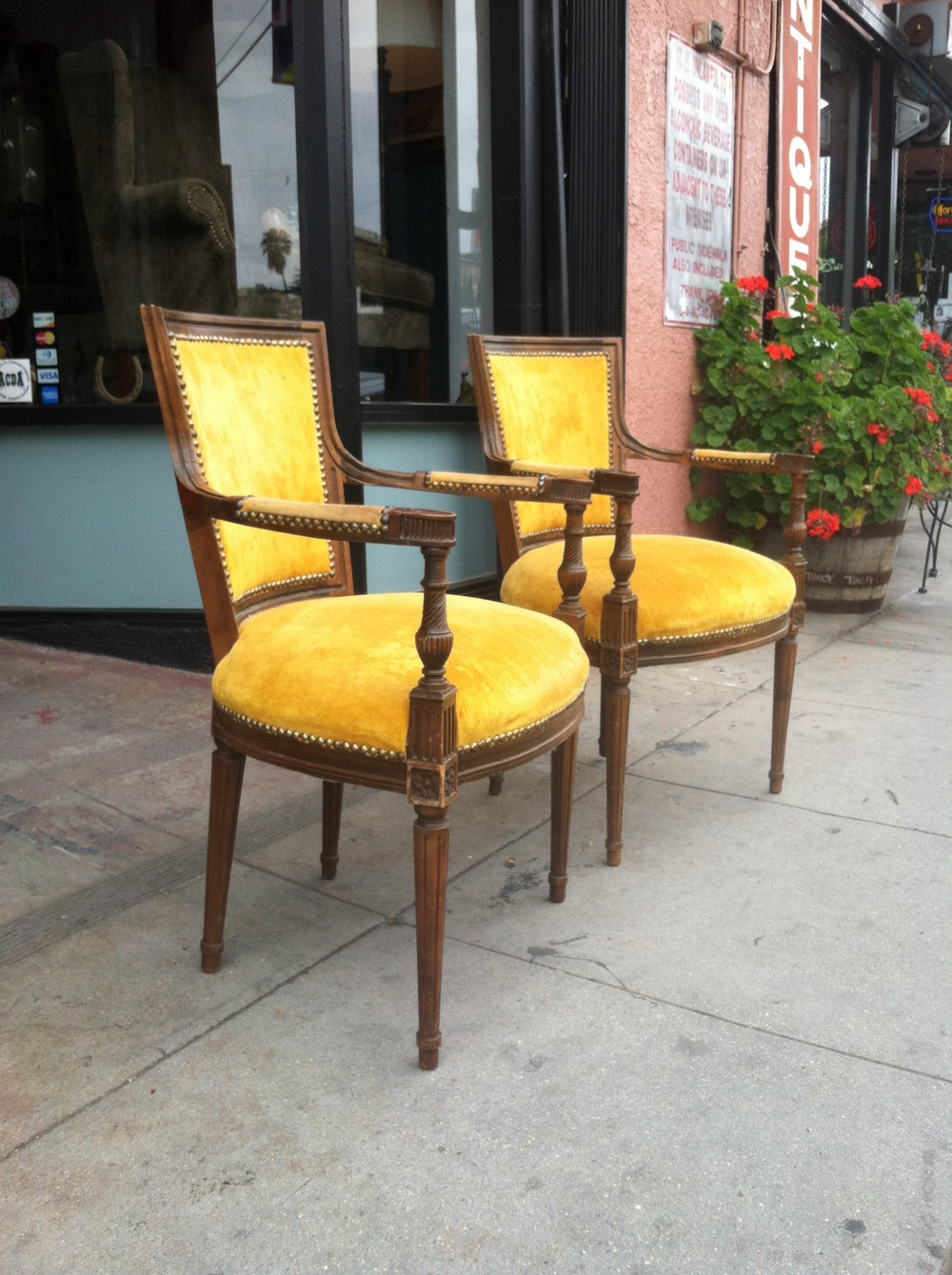 Pair of Gold Velvet French-style Arm Chairs