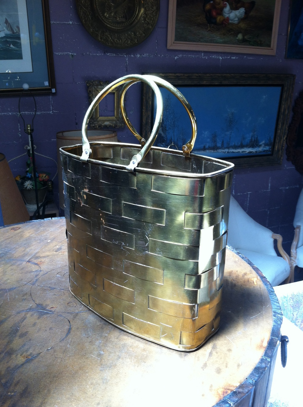 Brass Tote Bag Container
