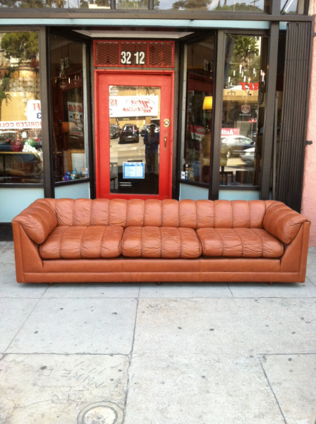 Rust Colored Leather Sofa