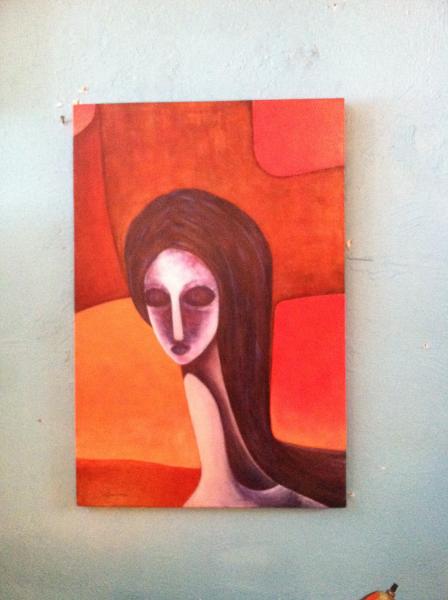 Abstract 'Mona Lisa' Painting