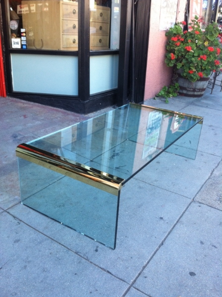 Glass and Brass Coffee Table by Pace