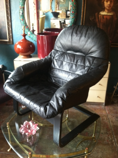 1980s Leather Sling Chair