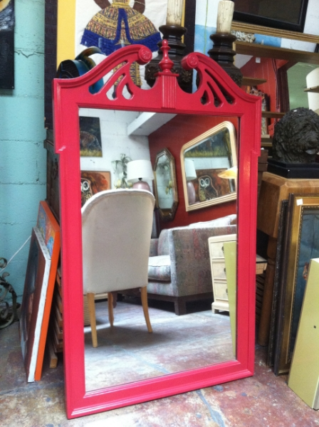 Classic Red Wood Mirror