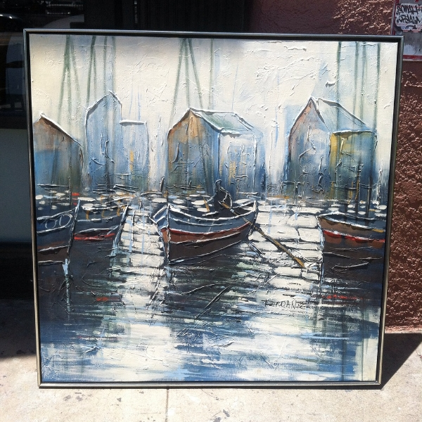 Large Mid-Century Boat Painting