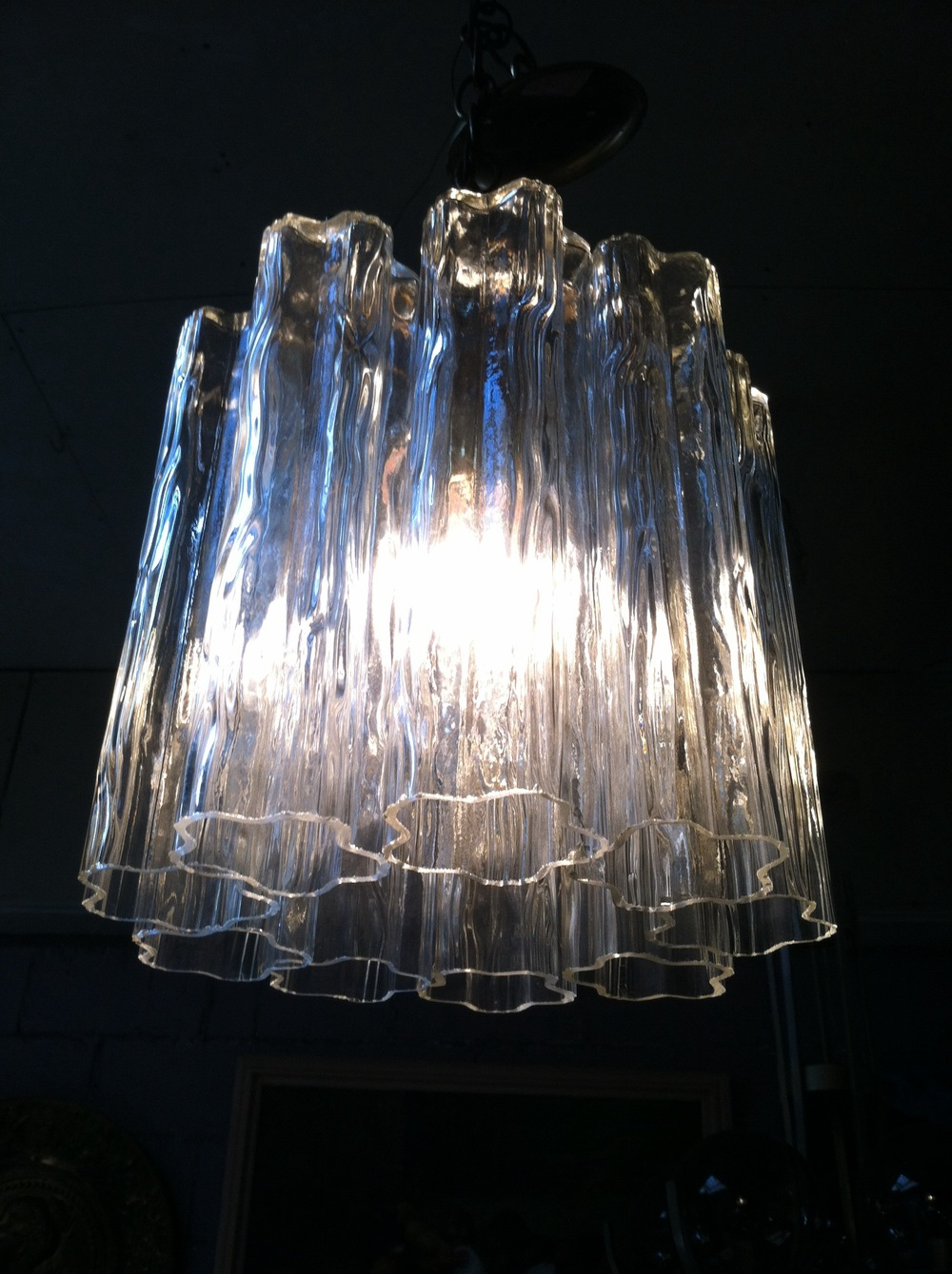 Mid-century Glass Tube Chandelier