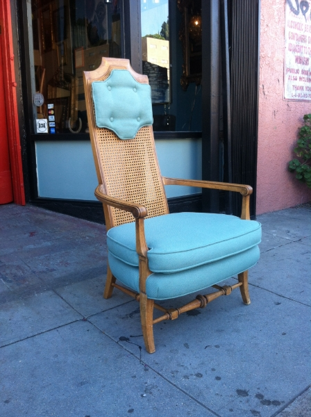 mid-century turquoise high back chair