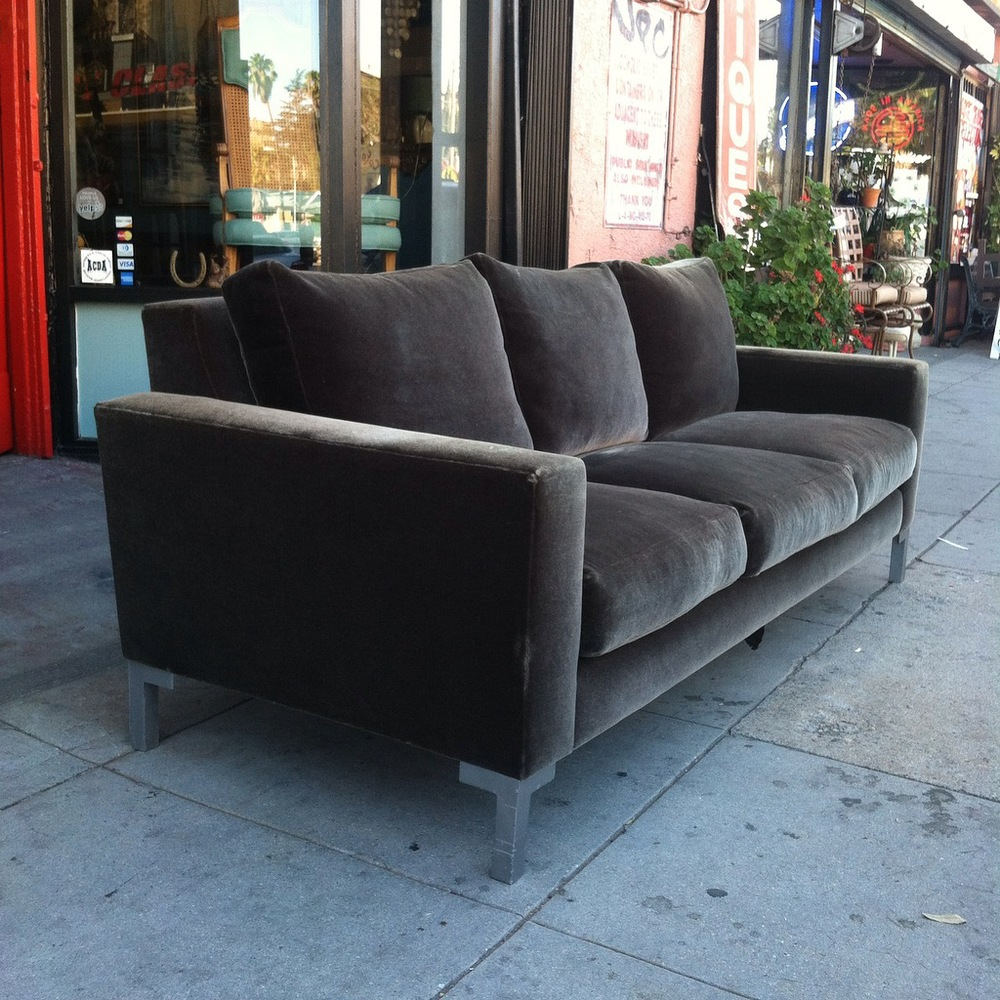 Olive Green Mohair Sofa