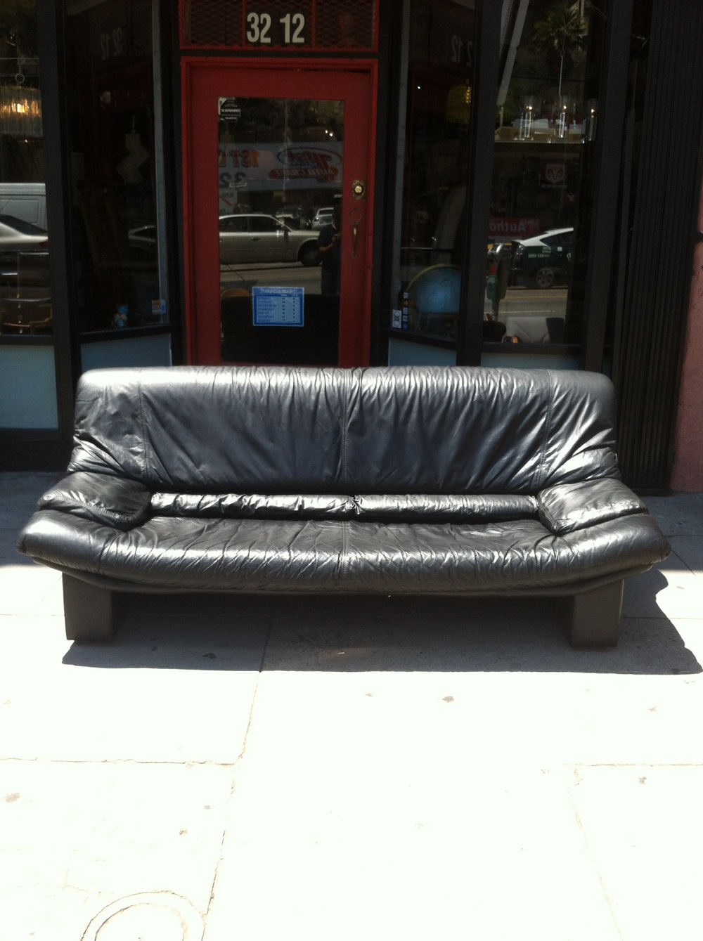 1980s Modernist Style Leather Sofa