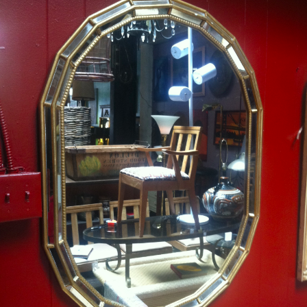 1970s Wood Gild Mirror