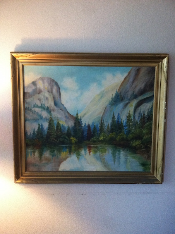 1930 Painting of Yosemite Valley and El Capitan with Mirror Lake